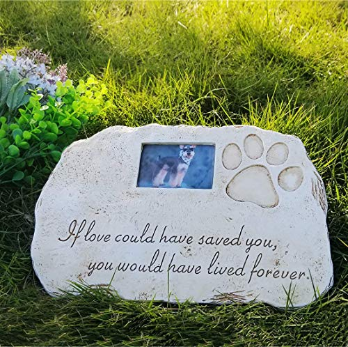 (Re-Call Pet Tombstone Dog Memorial Stone Personalized with Waterproof Photo Dog Grave Markers in Lawn and Garden (White))