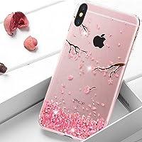 HMTECH iPhone XR Coque Paillette Diamant strass Bling Cristal Souple Clear Flex Cherry Fleur TPU Bumper Cas Coque Couverture Etui pour iPhone XR 6.1 Pouce,Diamond Cherry Blossom
