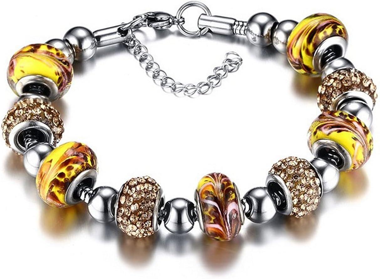 Gudeke Joyería Bohemia Murano acero inoxidable diamantes de imitación Collar del brazalete de la pulsera
