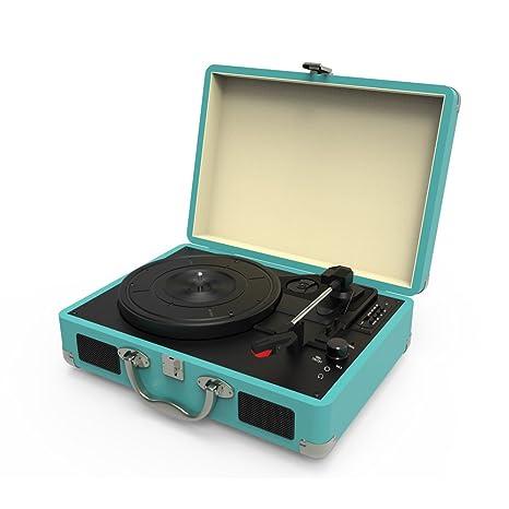 Tocadiscos,Tocadiscos de Vinilo Vintage Bluetooth con 3 velocidades y Altavoces Integrados,portatil Maleta