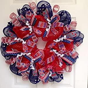 Red White Blue Patriotic Wreath Handmade Deco Mesh 5