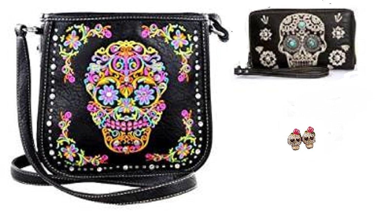 Montana West Sugar Skull Messenger Bag Purse Wallet and Earrings Black