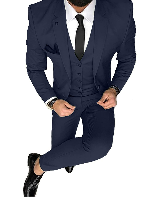 YSMO Männer Solide 3-teilig Anzug Slim Smoking Blazer Jacke Hosen Weste Set YSMO18050307