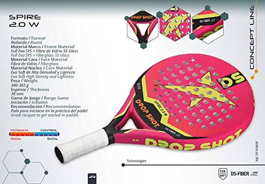 Drop Shot - Raqueta de pádel | Spire 2.0 W: Amazon.es: Deportes y ...