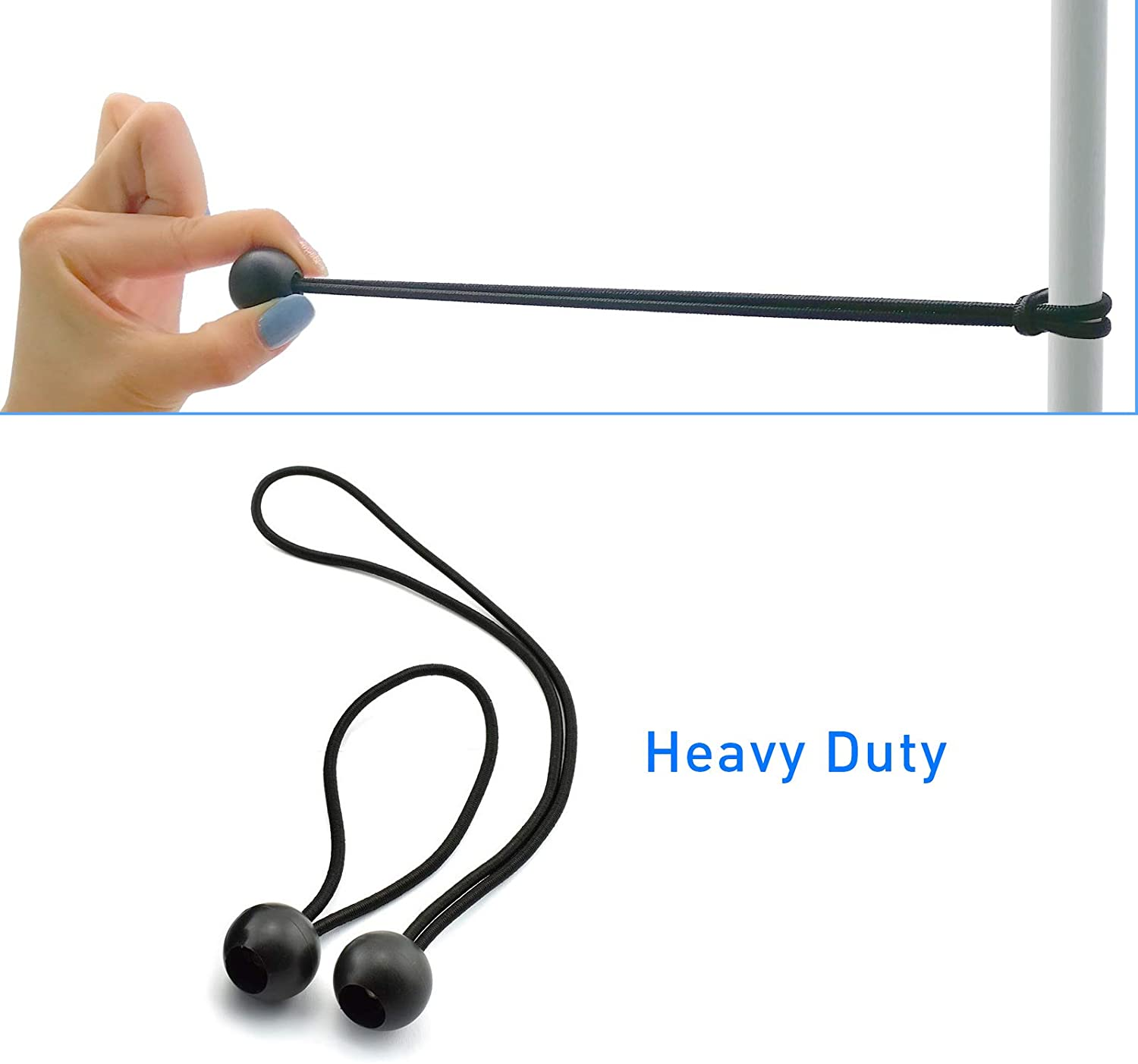 Ball Bungee Cords, Heavy Duty 6'' Ball Bungee Cord and 9 inch Elastic String Canopy Tarp Tie Down Straps Tent Fix Rope for Camping Tents Cargo 50 PCS - -
