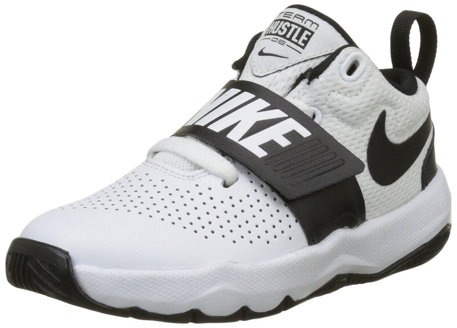 new products 2ec7d f8c72 Amazon.com   Nike Boy s Team Hustle D 8 (PS) Pre School Basketball Shoe  White Black Size 11 Kids US   Basketball