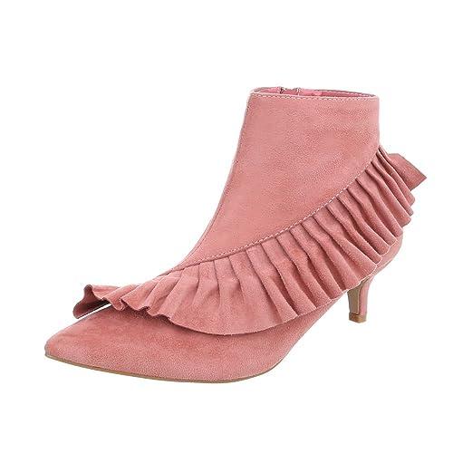 Zapatos para Mujer Botas Tacón Embudo Botines clásicos Rosa ...