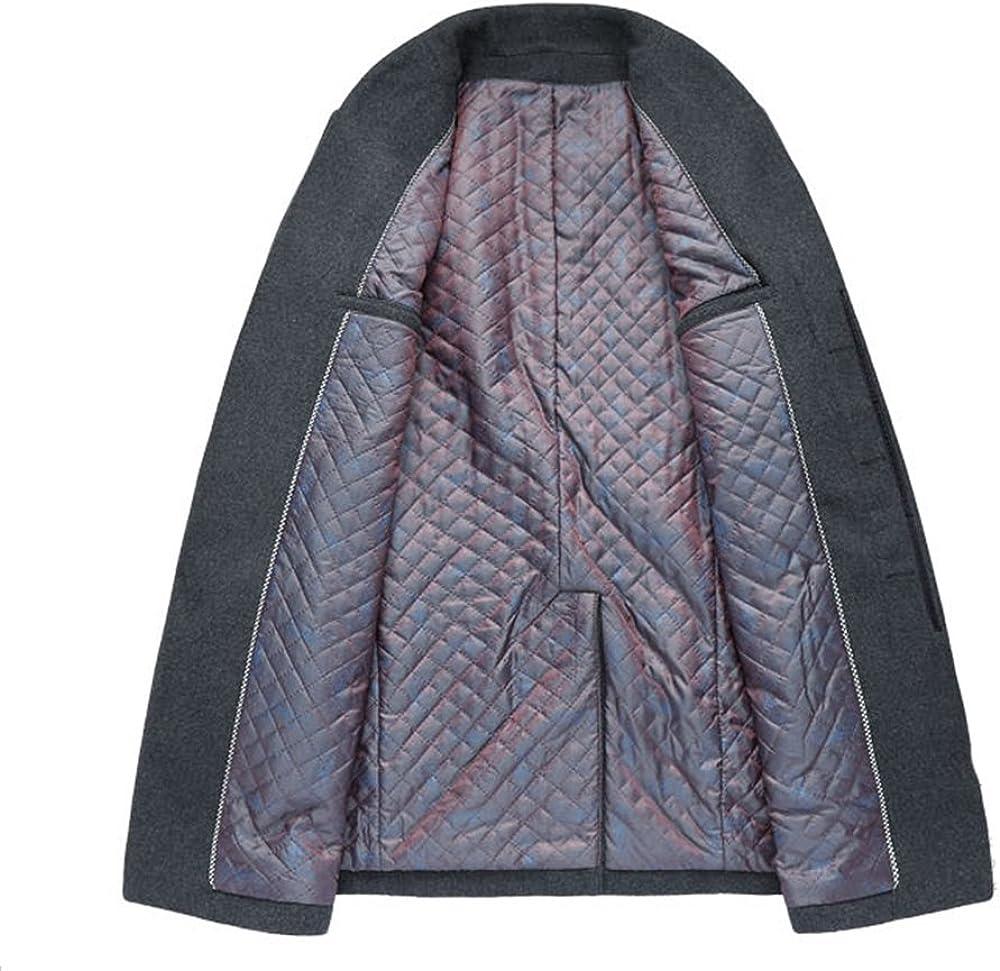 PASOK Mens Wool Trench Coat Slim Overcoat Business Down Jacket Winter Topcoat