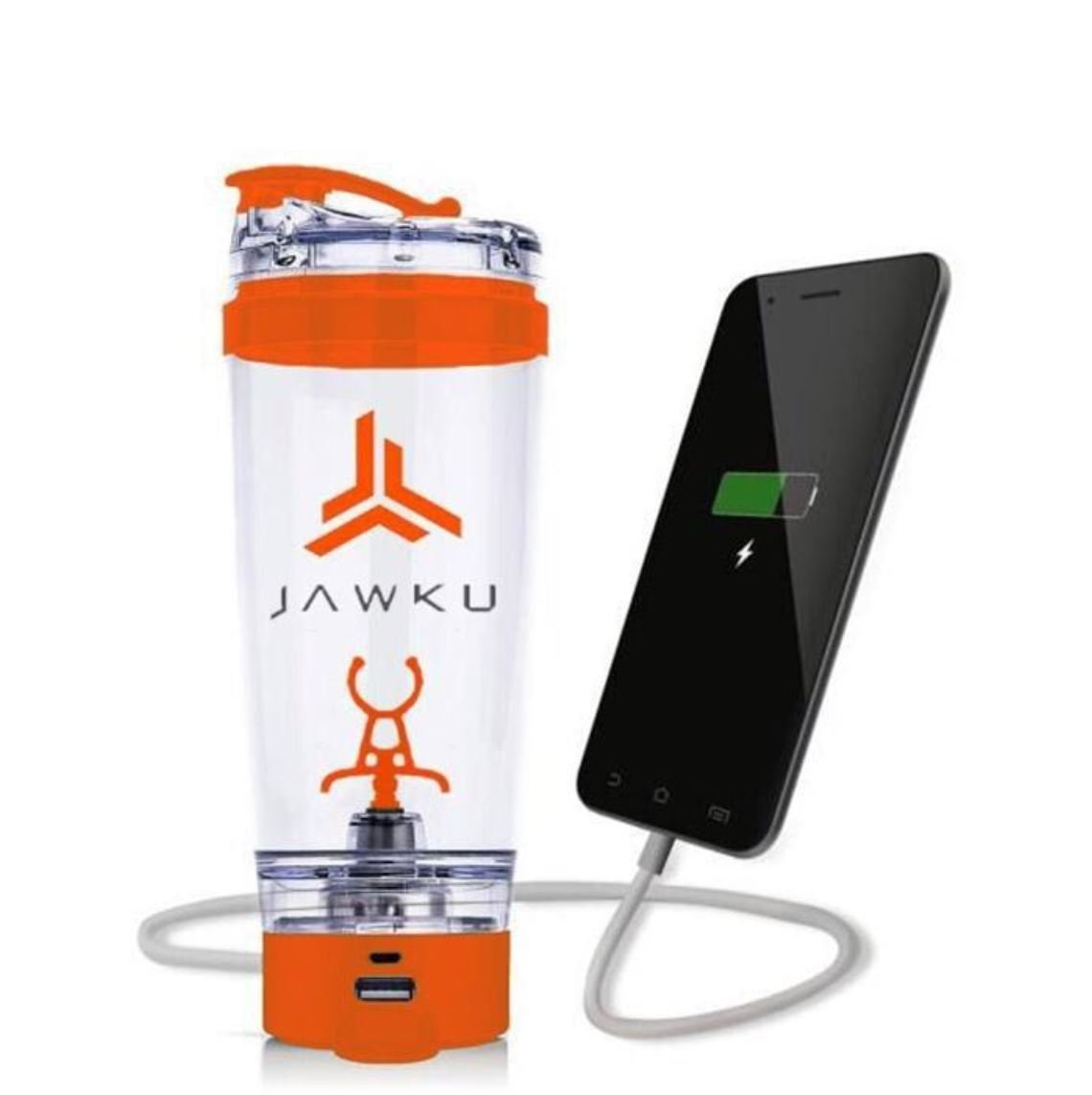 JAWKU Power Shaker Bottle Now with Dry Storage Container // A Powerful 11,000 RPM Mixer and Built-in Charger for Your Devices / 600ml (20oz.) BPA Free/New Dry Storage Container