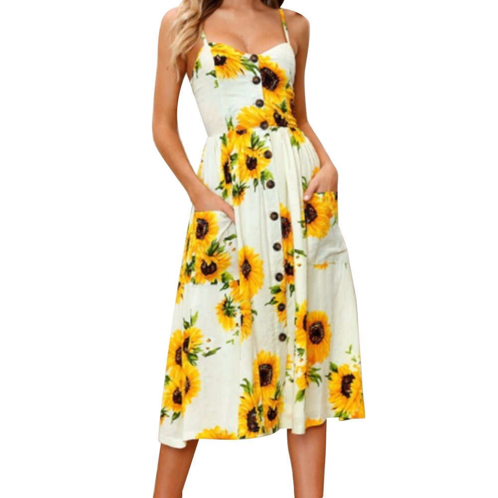 Pevor Women's Summer Spaghetti Floral Printing Button Down Causal Swing Dress with Pockets