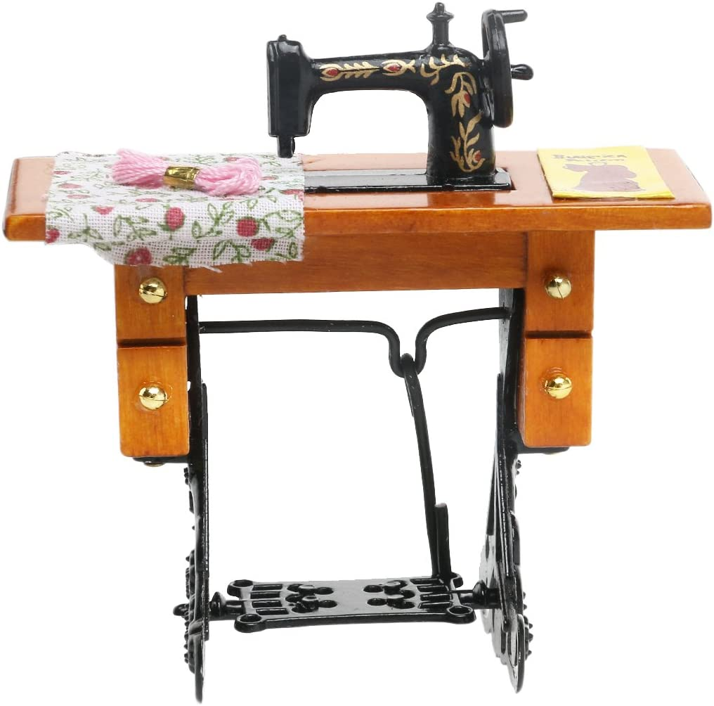 TOYMYTOY 1/12 Dollhouse Miniature Máquina de Coser con Tijeras de Tela