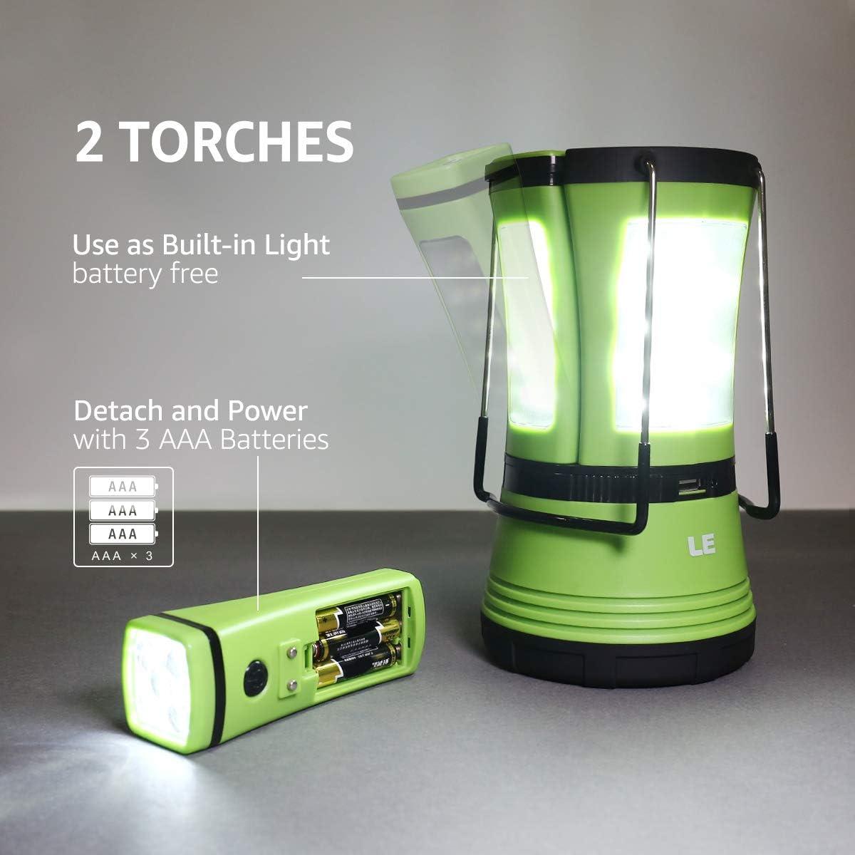 Lampe Lanterne de Camping LED Lampe de Tente Lampe Torche LED Puissante Portable a Piles 3x AAA avec Modes de Eclairage Constante et Flash Accessoire de Camping Essentiel de Enuotek
