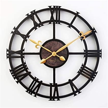 fwerq 17-inch Retro Modern European of The Creative Personality Simple Clock Mute Wall Round