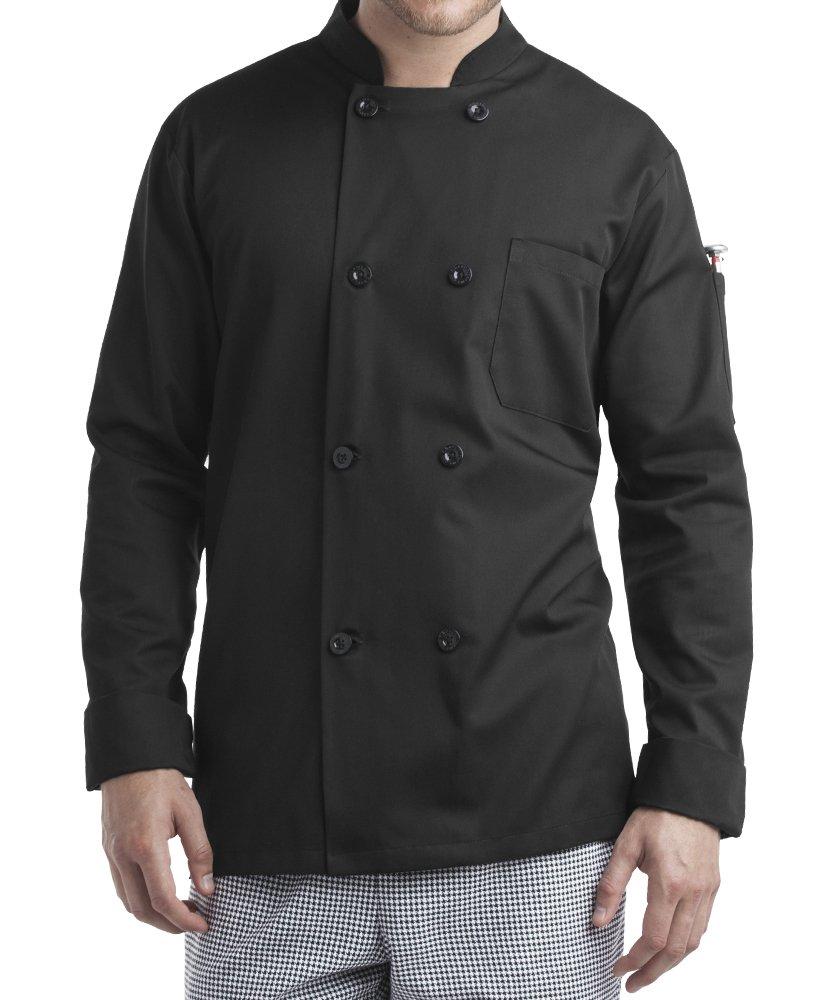 ChefUniforms.com Men's Long Sleeve Chef Coat (XS-5X, 2 Colors) (Large, Black)