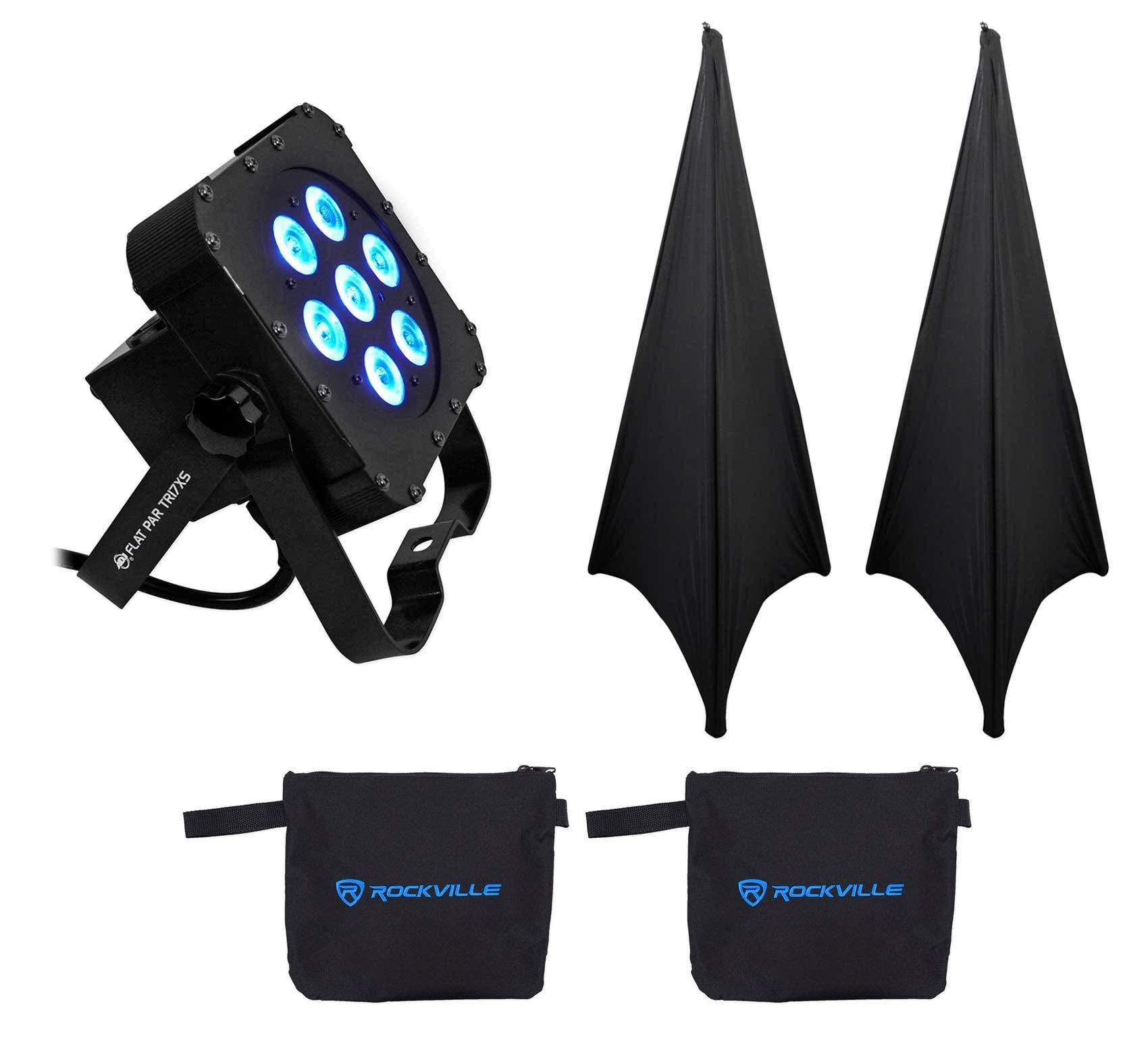 American DJ ADJ Flat Par Tri 7XS Slim Par Can LED RGB Wash Light Tri7XS+2 Scrims