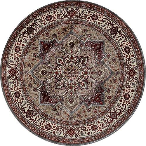 Art Carpet Dexter Collection Kaleidoscope Woven Round Area Rug, 5', Mushroom/Red - Rugs Kaleidoscope Collection