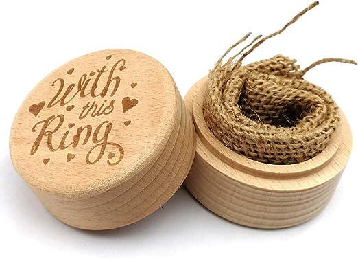Caja para anillos de madera de boda rústica: Amazon.es: Hogar