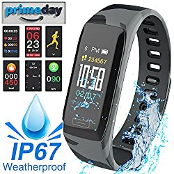 Mazuly IP67 Waterproof Fitness Tracker HR Smart Watch for Men Women with Heart Rate Blood Pressure Monitor Calorie Counter GPS Tracker Pedometer Smart Bracelet for iOS/Android