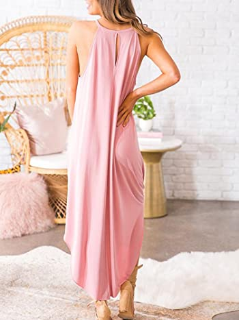 Womens Summer Sleeveless Halter Maxi Dress Casual Loose Fit Plain Long Dresses