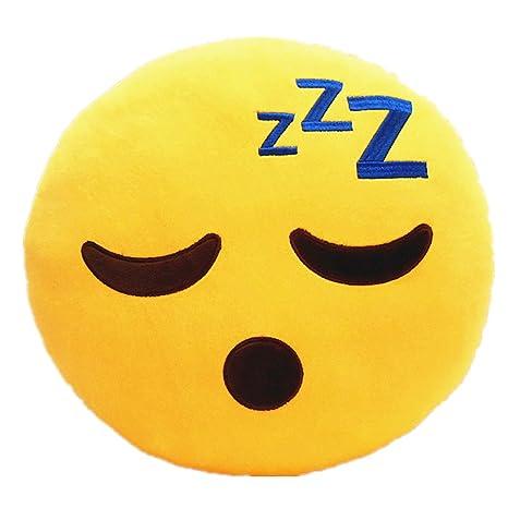 LI&HI - Cojín redondo con forma de emoticono, color amarillo (32 cm)