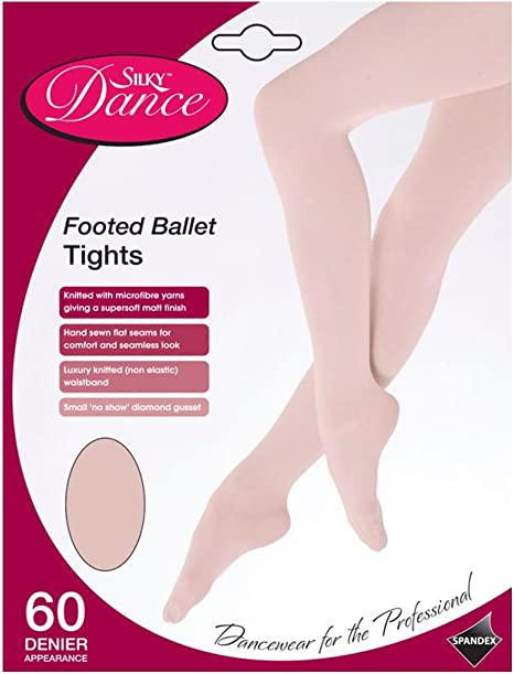 SILKY BALLET DANCE TIGHTS Full Foot Footed Pink Adult Sizes 10/% Spandex