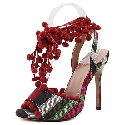 Sandales à Talons Hauts d'été pour Femme,Pompe à Sangle à Cheville Toe Ouvert Eté Chaussures de Talon à Talon Haut en Cuir BohèMe Femme FéMinine, Red, 36