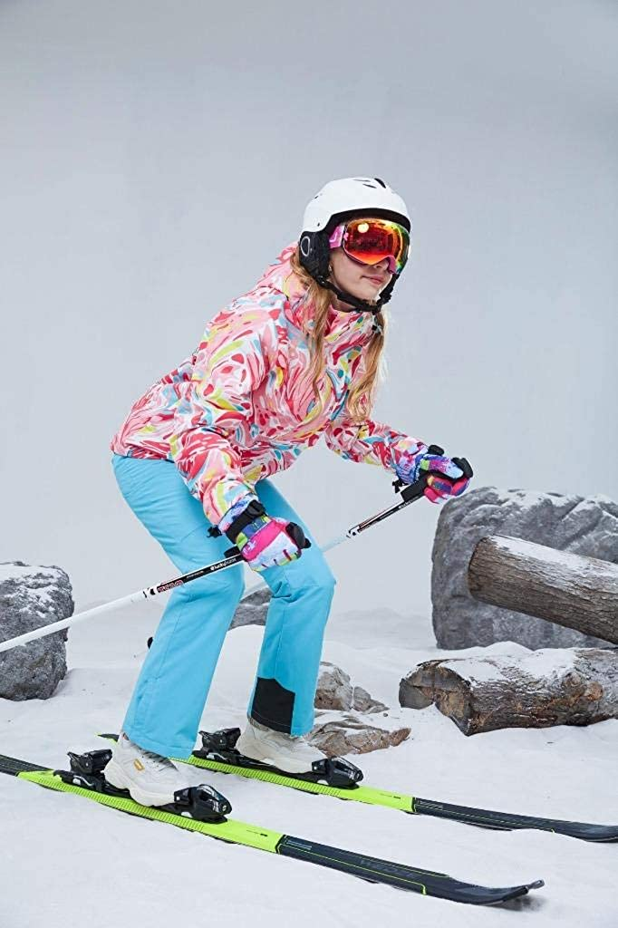 Womens Ski Jackets and Pants Set Windproof Waterproof Snowsuit Colorful Ski Suit