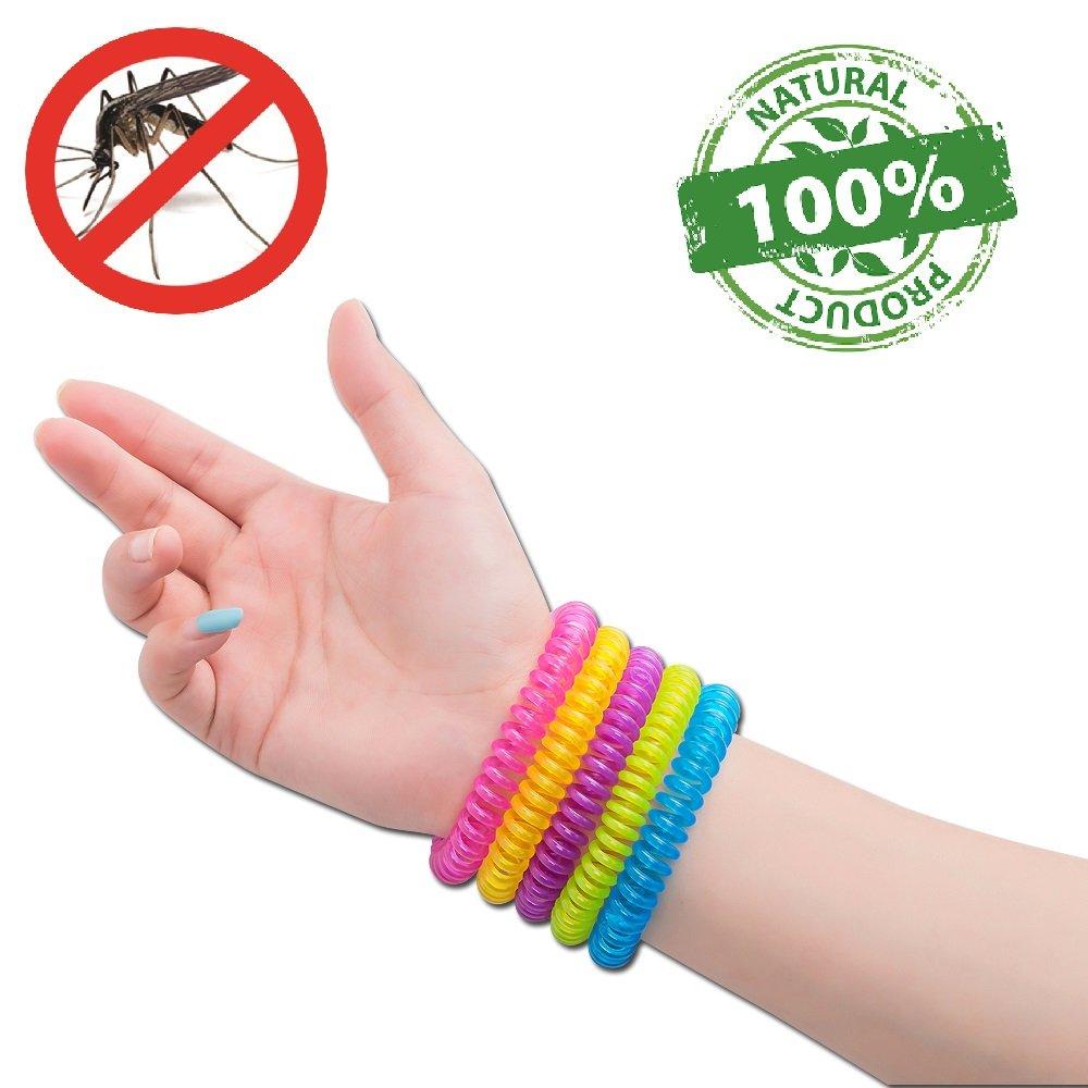 #1 Bracelets anti-moustique par NATURO HOME -paquet/famille de 10 Bracelets- Résistant à l'eau couleur moustiques Bracelets- 100% Naturels Huiles essentielles, sécurises et efficaces de DEET : 2500 heures de protection Brilliant Giftz