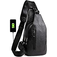 Men's Sling Bag Leather Chest Shoulder Backpack Water Resistant Anti Theft Crossbody Bag with USB Charge Port