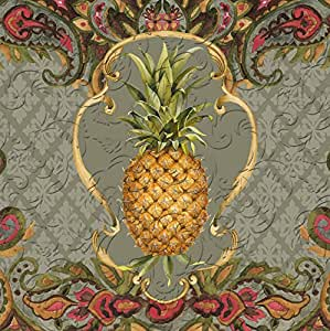 Cypress Home Vintage Pineapple Embossed Paper Cocktail Napkin, 20 count