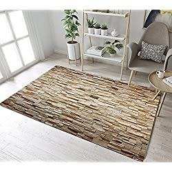 Stone Brick Wall Pattern Print Area Rug by LB, Rustic Country Farm Theme Decorative Rug for Living Room, Non Toxic Healthy Soft Flannel Rug Mat