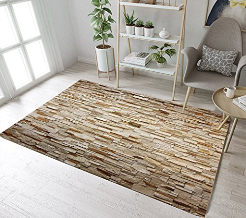 Rustic Retro Stone Wall Area Rugs Brick Wall Memory Foam Washable Indoor Outdoor Rugs Living Room Study Room Bedroom Carpet for Kids Playroom Play Mat Nursery Rugs, 2'7'' X 1'8']()