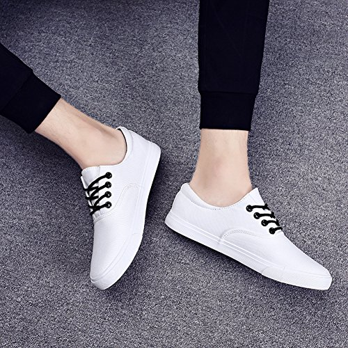 Aisun Mens Fashion Round Toe Low Top Lace Up Flats Canvas Sneakers Shoes White jezKd33G