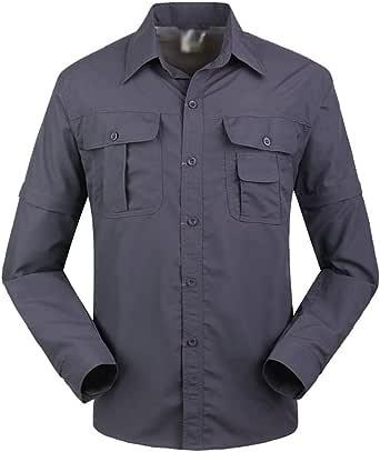 Yuanu Hombre Thin Color Sólido Secado Rápido Camisas/Pantalones, Desmontable Manga Larga Solapa Shirts Y Desmontable Trekking Pantalones para ...