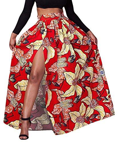 Y-BOA Jupe Femme Maxi Fente Imprim Fleur Taille lastique Pliss Rouge