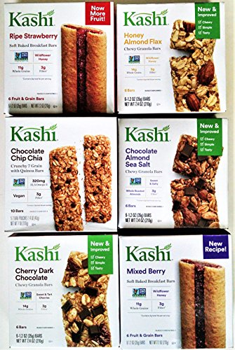 KASHI Snack Bars ULTIMATE VARIETY PACK: 1 Box Each of: GRANOLA & SEED CHOCO CHIP CHIA, HONEY OAT FLAX, CHERRY DARK CHOCOLATE, CHOCOLATE ALMOND & SEA SALT, MIXED BERRY, RIPE STRAWBERRY (6 PACK) by Kashi (Image #2)