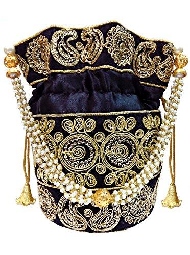 Pouch Evening (Wedding Women Purse Party Designer Bridal Clutch/Jewelry Pouch/Indian Evening Potli Handbag (10 x 8 x 1.75 inches, Black))