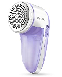Ruidla Fabric Shaver Defuzzer, Electric Lint Remover, Rechargeable Sweater Shaver with Replaceable Stainless Steel 3-Blades, Dual Protection, Removable Bin, Easy Remove Fuzz, Lint, Pills, Bobbles