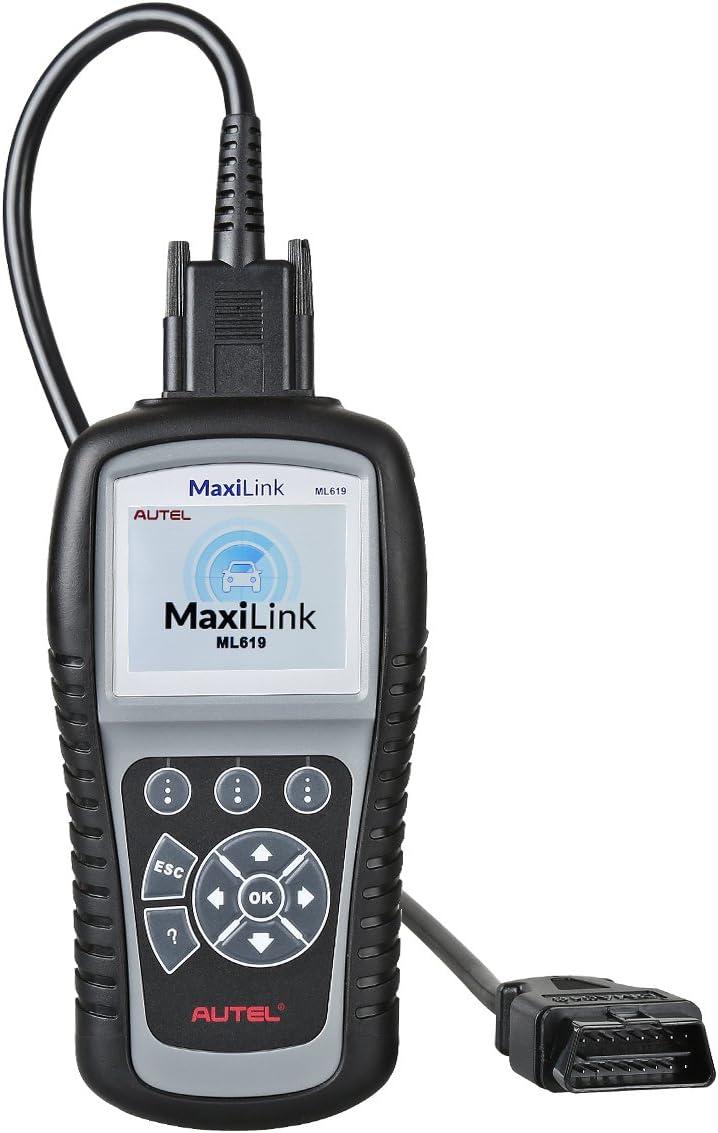 Autel ML619 MaxiLink Herramienta Diagnosis Multimarca y Lector de Códigos Error Funciones EOBD con Sistemas Airbag en Pantalla TFT a Color (Borrar Luces OBD2 + ABS y SRS), ML 619