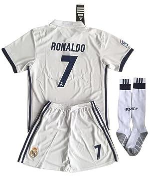 Real Madrid Ronaldo # 7 Soccer Jersey (camiseta + pantalón + Juego de calcetines) para niños/jóvenes 9 - 10 años: Amazon.es: Deportes y aire libre