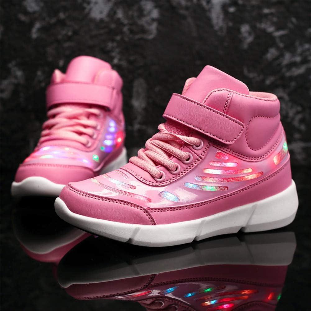 Licy Life-UK Unisex Enfants Gar/çon Fille LED Lumineuse Chaussures Securit/é Classique Haut Dessus 7 Couleurs Clignotants USB Rechargeable Mutilsport Shoes Sneaker