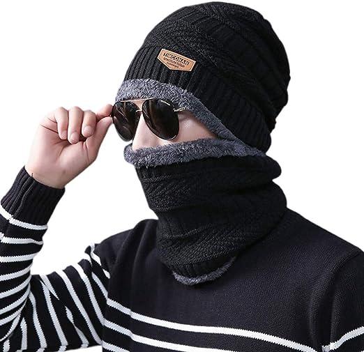 IMIKEYA Gorro cachecol de tricô grosso quente e felpudo, touca de crânio ao toque para caminhadas e skate