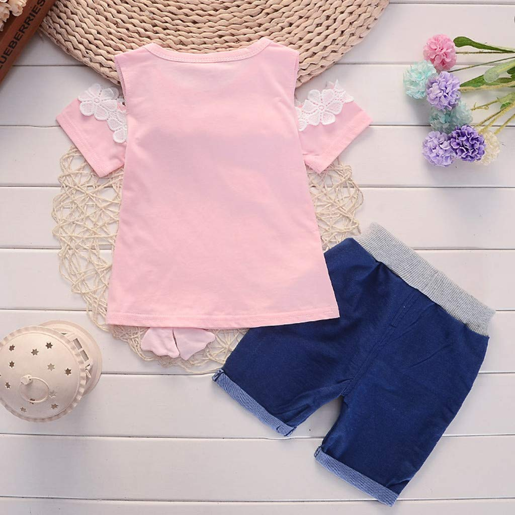 Toddler Baby Girls Summer Casual Clothes Cartoon Dark Print Cold Shoulder Top with Demin Shorts Outfits Set