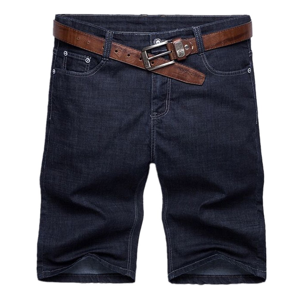 Men Summer Casual Jean Shorts Big Plus Size 52 Denim Capri Short Pants Short (50, Dark Blue)