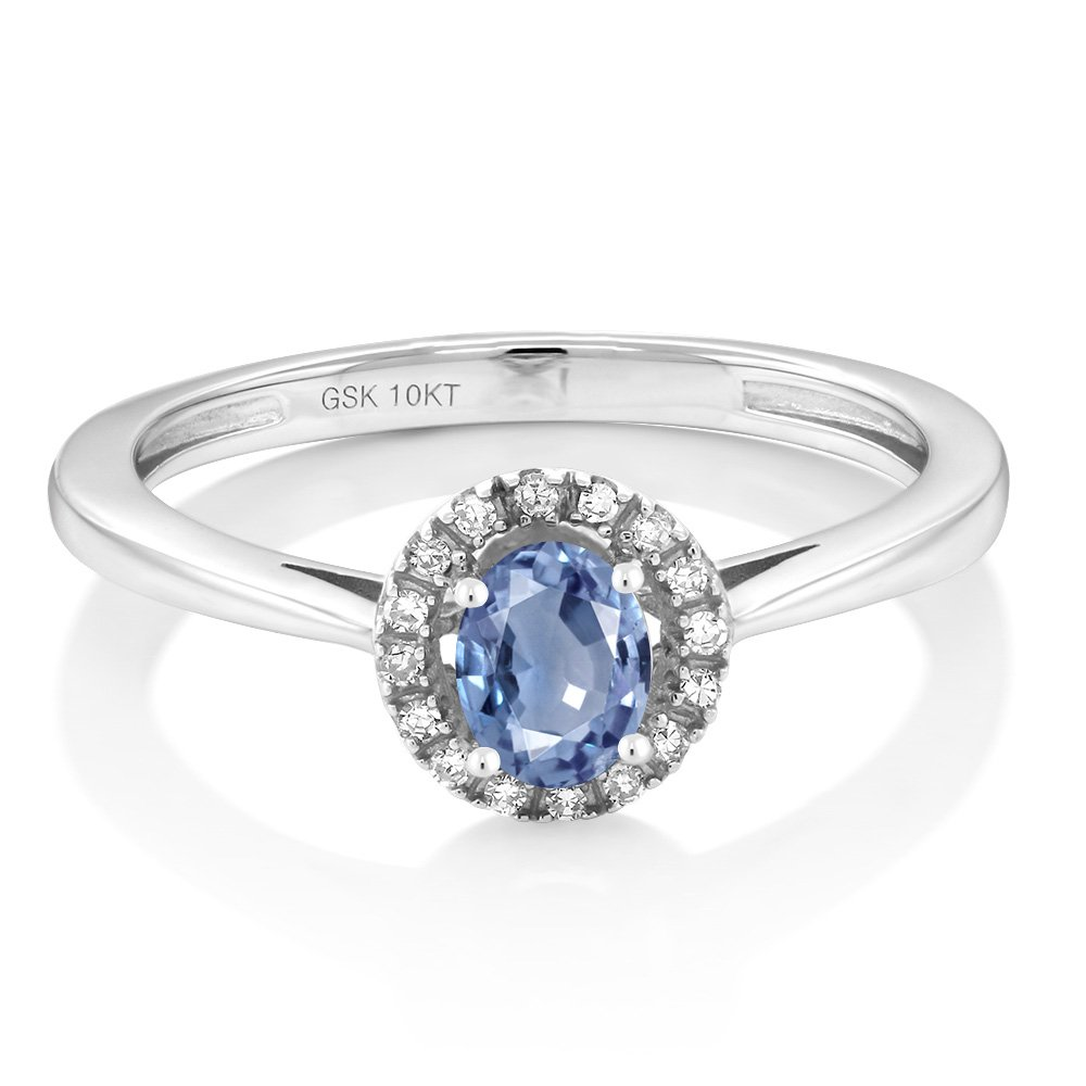 10K White Gold Diamond Engagement Ring with Oval Blue Sapphire (Available in size 5,6,7,8,9)