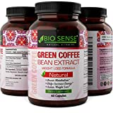 Pure Green Coffee Bean Extract - Potent Antioxidant And Metabolism Booster - Contains Adiponectin + Chlorogenic Acid - Green Coffee Bean Extract For Weight Loss For Men And Women By Bio Sense