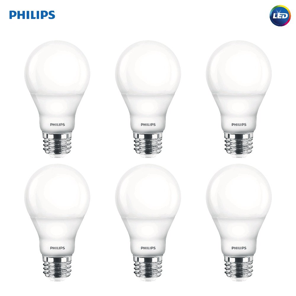 Philips LED Dimmable A19 Soft White Light Bulb with Warm Glow Effect: 800-Lumen, 2700-2200-Kelvin, 9.5-Watt (60-Watt Equivalent), E26 Base, Frosted, 6-Pack (Old Generation)