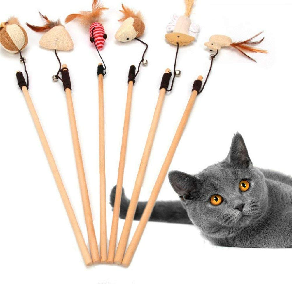 6pcs Pet Cat Catcher Toy Wooden Pole With Bells Elastic Rod Funny Cat Mouse Pumpkin Head Feather Chick Fish