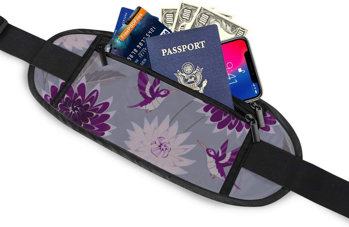 Travel Waist Pack,travel Pocket With Adjustable Belt Hummingbird Flowers Pattern On Gray Running Lumbar Pack For Travel Outdoor Sports Walking