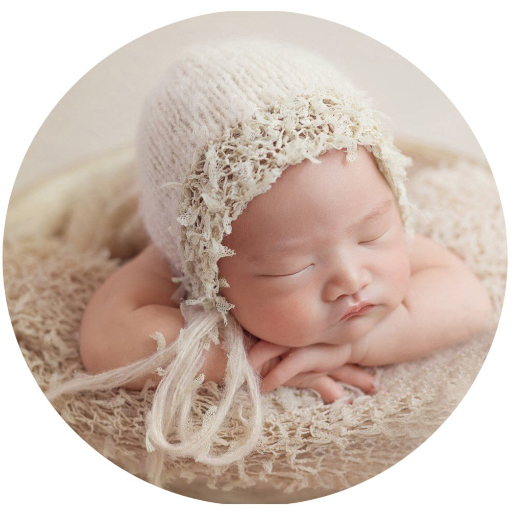 Zeroest Baby Photography Props Luxurious Hat Photo Shoot Outfits Newborn Girl Crochet Costume Infant Knitted Hats (Beige) by Zeroest